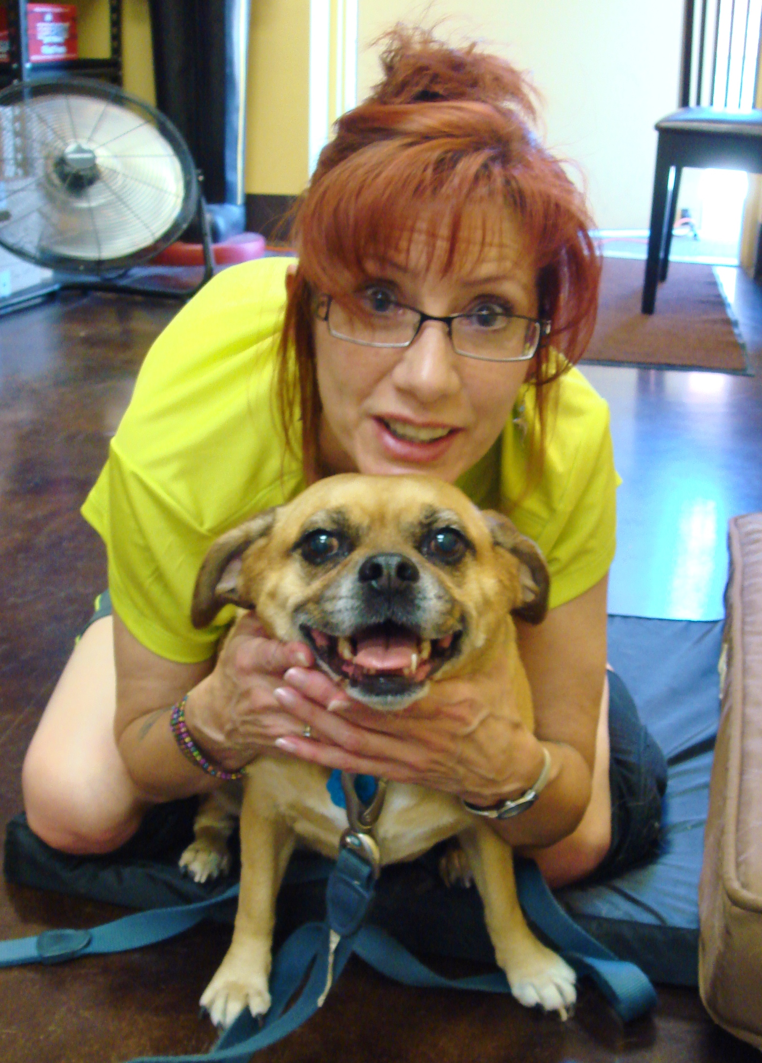 "The hunchback and the smiling puggle MARLEY.  Or is she trying to talk and say ""I can't breath"", hmmm?"